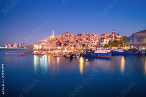 Obraz na płótnie Beautiful panoramic view of Jaffa port and old town in Tel Aviv, Israel