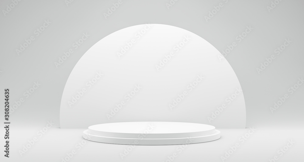 Fototapeta Pedestal of Platform display with modern stand podium on white room background. Blank Exhibition stage backdrop or empty product shelf. 3D rendering.