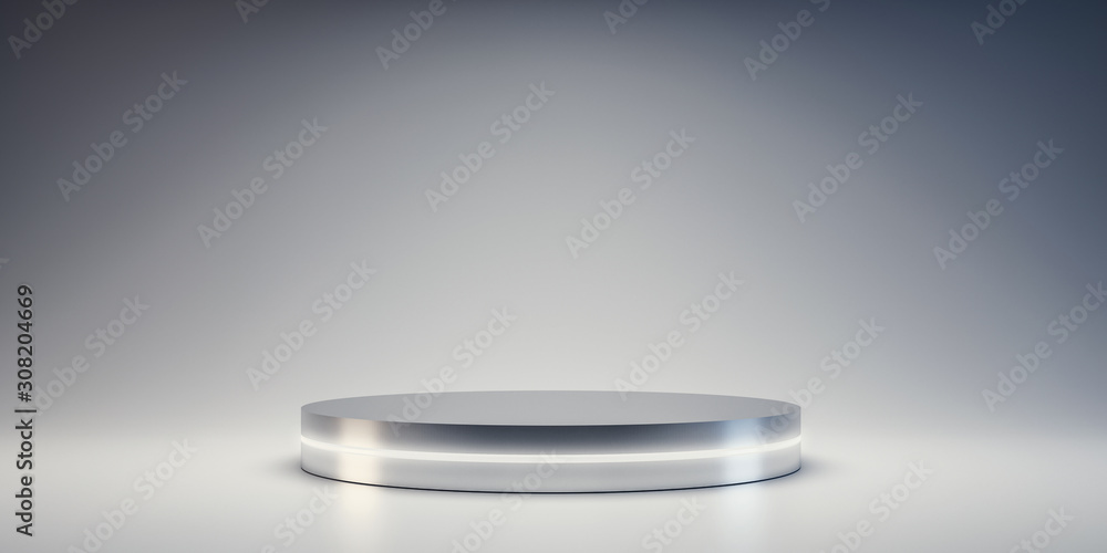 Fototapeta Silver Pedestal of platform display with neon modern stand podium on white room background. Blank Exhibition stage backdrop or empty product shelf. 3D rendering.