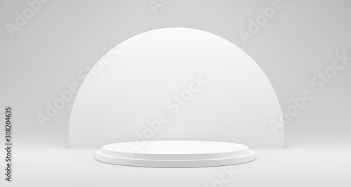 Fototapeta Pedestal of Platform display with modern stand podium on white room background. Blank Exhibition stage backdrop or empty product shelf. 3D rendering. obraz