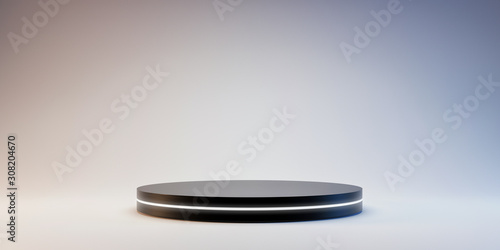 Black Pedestal of platform display with neon modern stand podium on white room background Fototapete