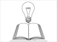 One Continuous Line Drawing Of Open Book With Light Bulb. Concept Of Education, Ideas And Understanding.
