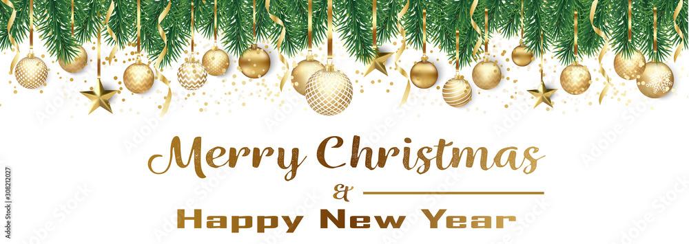 Fototapeta Bannière ou carte de noël et nouvel an - Merry Christmas and Happy new year sapin boules dorés – serpentin étoile confettis fond blanc