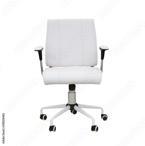 Obraz na plátně The office chair from white leather. Isolated over white
