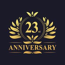 23rd Anniversary Logo, Luxurious Golden Color 23 Years Anniversary Logo Design Celebration.