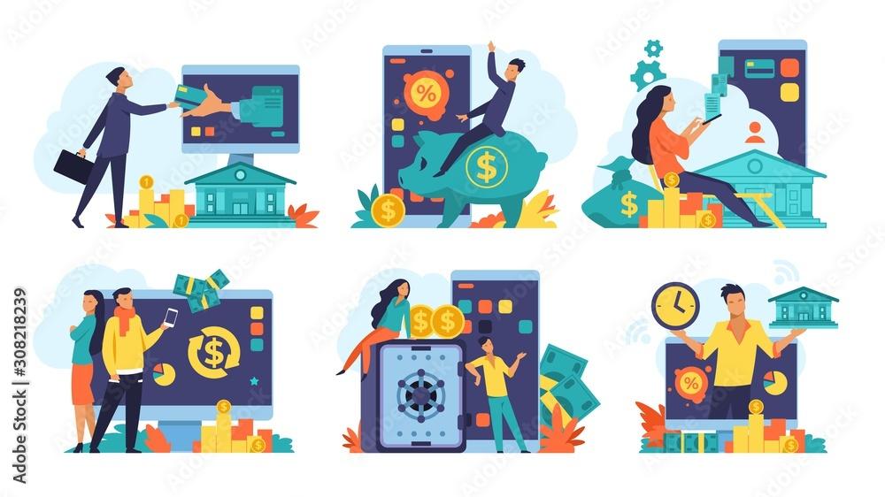Fototapeta Online banking concept. Money cashback and transfer, fintech advertising and digital bank transactions. Vector design mobile banking illustration, digital receiver savings people - obraz na płótnie
