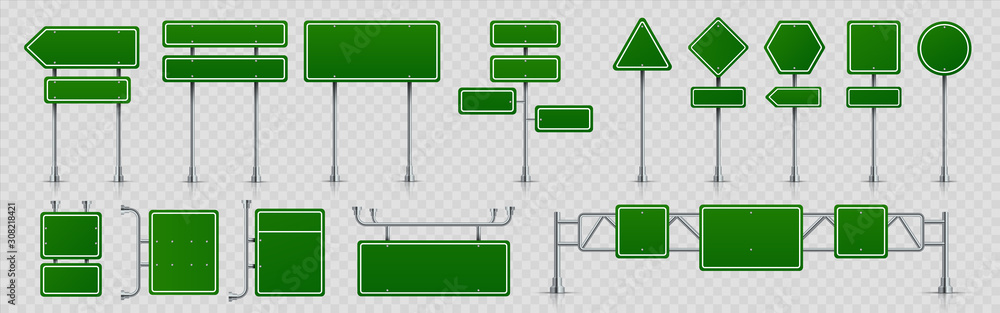 Fototapeta Highway signs. Green pointers on the road, traffic control signs and road direction signboards. Vector illustration information empty roadside signs set on transparent background