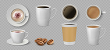 Realistic Coffee Cups. White C...