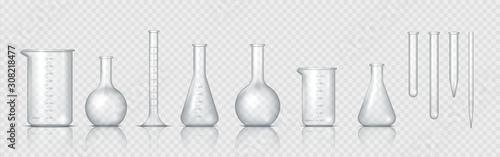 Obraz Laboratory glassware. Realistic lab beaker, glass flask and other chemical containers, 3D measuring medical equipment. Vector set tool for chemistry experiments or biotechnology testing - fototapety do salonu