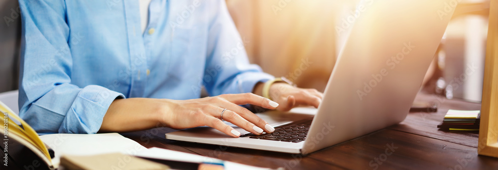 Fototapeta Young woman working with a laptop. Female freelancer connecting to internet via computer. Blogger or journalist writing new article.