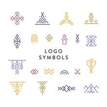 Vector Set Of Line Art Symbols...