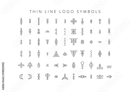 Canvas Print Vector set of line art symbols for logo design and lettering in boho and hipster style