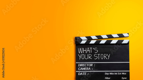 Foto What's your story.text title on movie clapper board