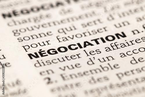 Canvastavla Négociation - photo macro de la définition du dictionnaire français