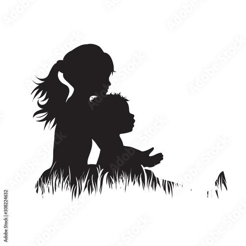 Fototapeta Vector silhouette of siblings in the grass on white background. Symbol of girl, boy, sister, brother, baby,family, infant, childhood, nature, park, garden. obraz