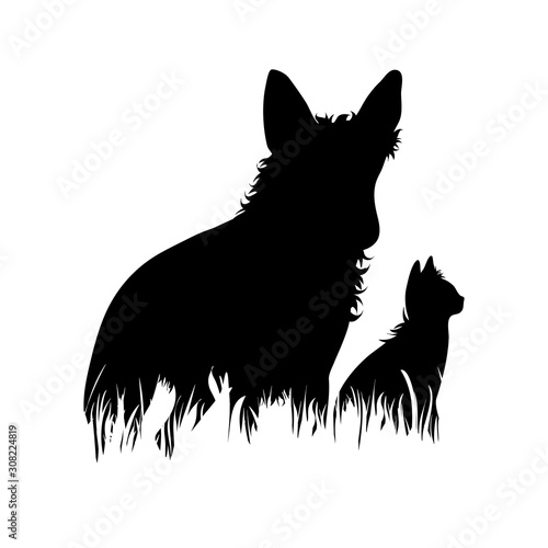 Vector silhouette of dog and cat in the grass on white background Tableau sur Toile