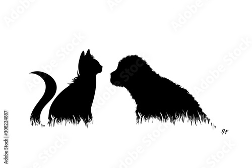 Vector silhouette of dog and cat in the grass on white background Poster Mural XXL