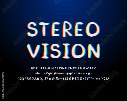 Fototapety, obrazy: Stereo style Alphabet. Abstract retro vector font, white, red, yellow, blue colors. Uppercase and lowercase letters, numbers, marks. Dark navy blue background, with gradient and linear texture