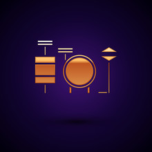 Gold Drums Icon Isolated On Dark Blue Background. Music Sign. Musical Instrument Symbol. Vector Illustration