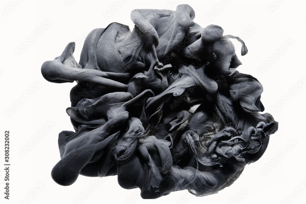 Fototapeta Outer space abstract background, black matter. Thunderstorm clouds in the sky. Mystical swirling smoke backdrop, embodiment of human depression and negative emotions