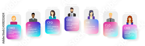 Business hierarchy infographics. Corporate organizational structure elements. Company organization branches template, vector banners in purple and blue gradient design style with human silhouettes.