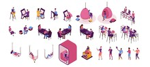 Freelancer Isolated Set, Man Working In Office, Lying In Hammock, People With Laptop In Coworking Space At High Tables, Hanging Egg Chair, Sitting On Sofa, Modern Graphic Vector Illustration