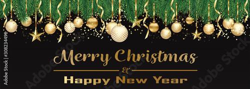 Obraz Bannière ou carte de noël et nouvel an - Merry Christmas and Happy new year sapin boules dorés – serpentin étoile confettis fond noir - fototapety do salonu