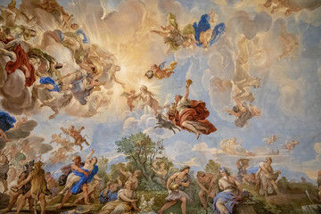 Panoramic view of ceiling interior of Palazzo Medici