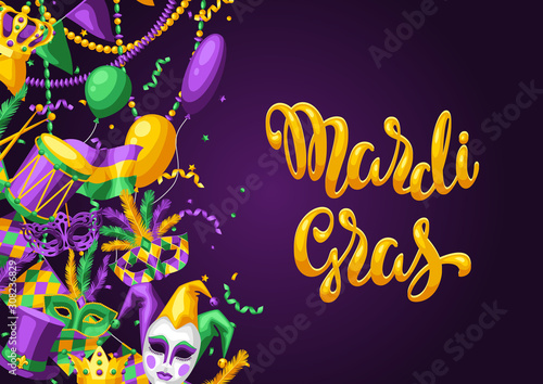 Photo Mardi Gras party greeting or invitation card.