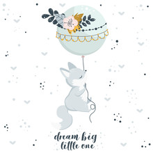 Poster With Fox And Balloon - Vector Illustration, Eps