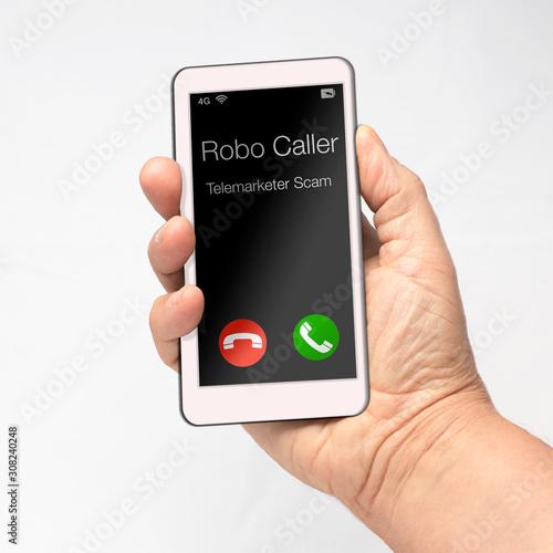 Robo Caller Mobile Cell Phone Illustration Tapéta, Fotótapéta