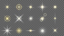 Flash Camera Light Effect. Realistic Twinkle Stars. Vector Glow Shine Element Set. Starlight Isolated On Transparent Background Vector Set