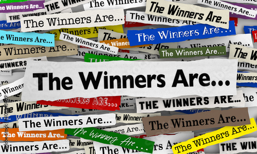 The Winners Are Awards Cermony Announcement News Headlines 3d Illustration Canvas Print