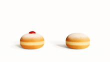 Traditional Polish, Croatian Donuts Isolated On White Background, Front View. Hanukkah Holiday 'sufganiyah' Donut With Jam, Jelly, Empty Dough Sweet Dessert Concept Closeup. Glazed Sugar Powder Donuts