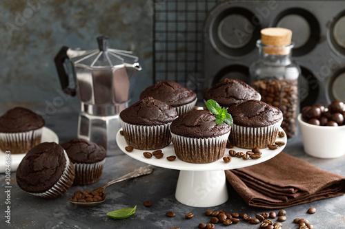 Obraz na płótnie Coffee chocolate muffins for breakfast