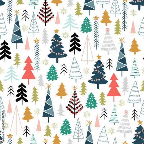 mata magnetyczna Winter seamless pattern with christmas trees, spruce woods on white background. Surface design for textile, fabric, wallpaper, wrapping, giftwrap, paper, scrapbook and packaging.