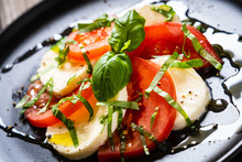 Caprese Salad On Black Plate O...