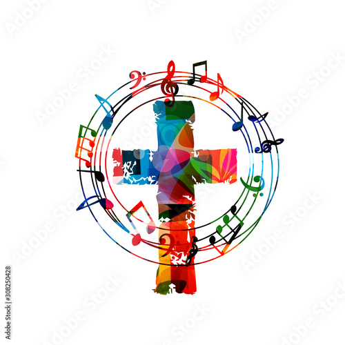 Fototapeta Colorful christian cross with music notes isolated vector illustration. Religion themed background. Design for gospel church music, concert, festival, choir singing, Christianity, prayer  obraz