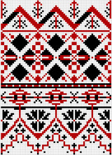 Vector Drawing - Traditional Seamless Slavic Pattern For Cross Stitch In Red, Black And White Colors.