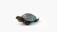 Feng Shui Turtle Statue Figurine With Purple Dots And Isolated In White. Buddhist Chinese Decoration Object, Tortoise For Rich And Money.