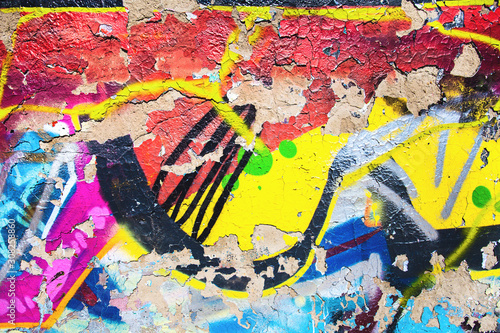 Closeup of damaged abstract colorful wall texture - 308258860