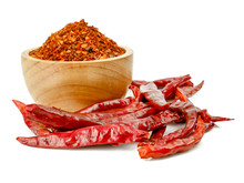 Dried Red Chili Or Chilli Cayenne Pepper Isolated On White Background.food Ingredient