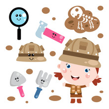 Little Girl Detective Activity Cute Cartoon. Kids. Children With Detective Tool Vector Template Design Illustration