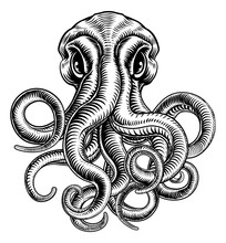 Original Illustration Of An Octopus Or Cthulhu Monster In A Vintage Woodblock Woodcut Retro Style.