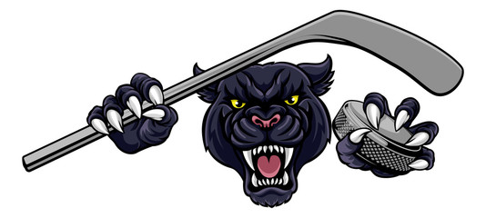 A panther ice hockey player animal sports mascot holding a hockey stick and puck