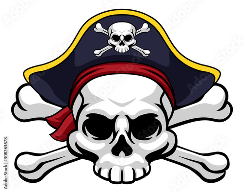 A skull and crossbones jolly roger wearing a pirate hat which also has a cross b Canvas Print