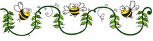 Three Happy Bees On Rope Of Gr...