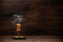 Extinct Old Candle With Vintag...