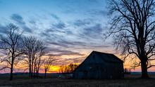 Barn Silhoutte And Morning Col...