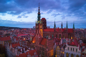 Aerial view of the old town in Gdansk with beautiful architecture at dusk, Poland